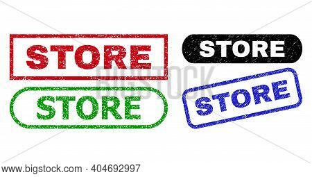 Store Grunge Watermarks. Flat Vector Grunge Watermarks With Store Title Inside Different Rectangle A