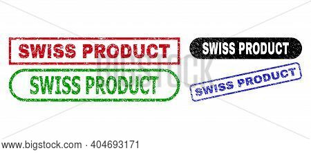 Swiss Product Grunge Seal Stamps. Flat Vector Distress Seal Stamps With Swiss Product Message Inside
