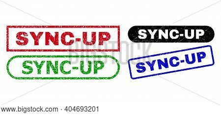Sync-up Grunge Seals. Flat Vector Grunge Watermarks With Sync-up Text Inside Different Rectangle And
