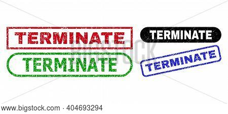 Terminate Grunge Seal Stamps. Flat Vector Grunge Seal Stamps With Terminate Slogan Inside Different