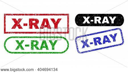 X-ray Grunge Seal Stamps. Flat Vector Distress Seal Stamps With X-ray Message Inside Different Recta