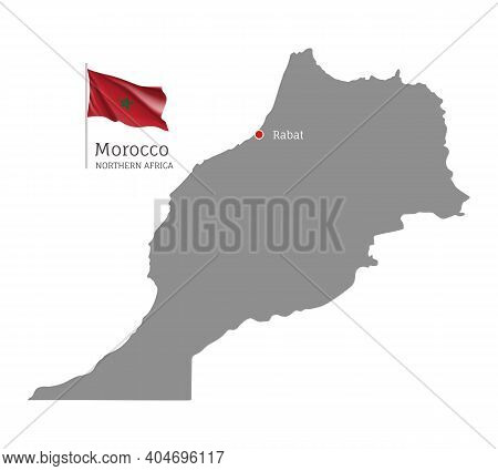 Silhouette Of Morocco Country Map. Gray Editable Map With Waving National Flag And Rabat City Capita