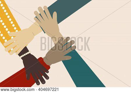 Vector Illustration Of International Team Building. Concept Of Multinational Team Work. Business Par
