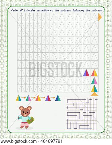 Game For The Development Of Logical Thinking. Color All The Figures In A Square In A Certain Order,