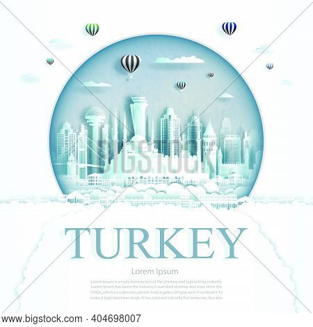 Travel Turkey Monument With Ancient And City Modern Building In Circle Background. Business Tour For