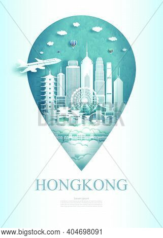 Travel China Hong Kong Architecture Monument Pin In Asia With Ancient And City Modern Building. Trav