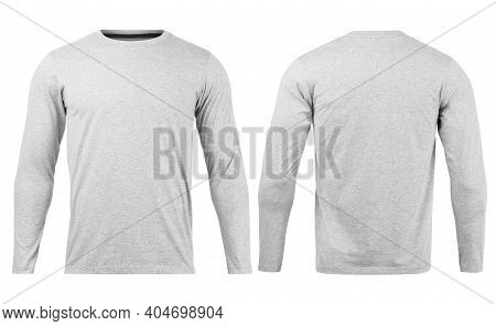 Grey T Shirt Long Sleeves Mockup Front And Back Used As Design Template, Isolated On White Backgroun