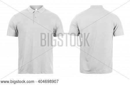 Grey Polo Shirts Mockup Front And Back Used As Design Template, Isolated On White Background With Cl