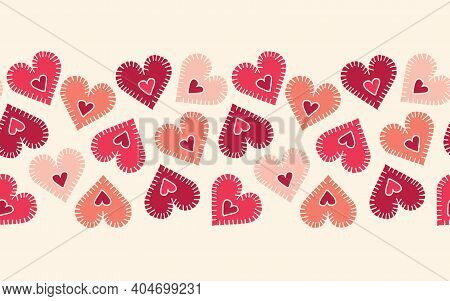 Valentines Day Holiday Hand-drawn Craft Stitched Colorful Hearts On Cream Background Vector Seamless