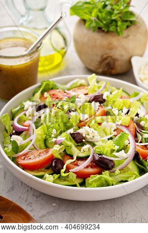 Vegetarian Greek Salad With Vinaigrette Dressing And Feta Cheese