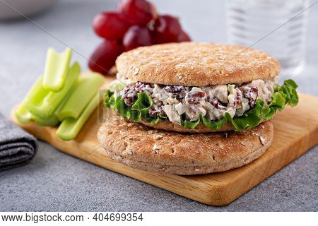 Sandwich With Chicken Salad With Celery Sticks And Grapes, Lunch To Go