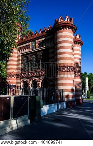 Facace Of A Moorish Style Palace In Seville. Spain