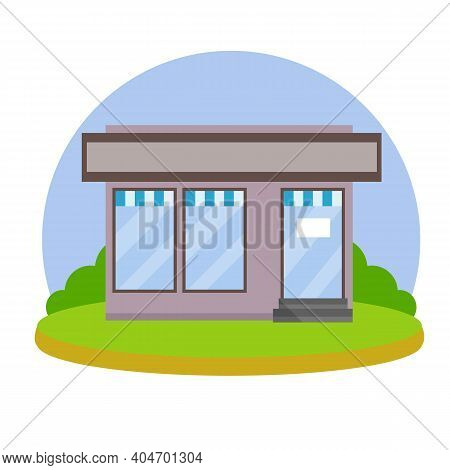 Small Shop. Store With Red And White Roof. Food Trade And Coffee Shop. Facade Of The House With Show