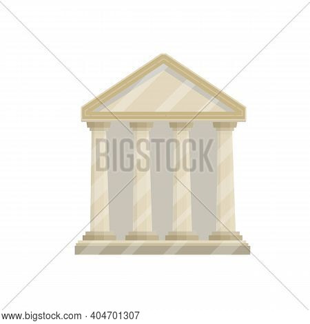 Ancient Greek And Roman Building With Stairs, White Columns And Pediment. Old Temple To Pagan Gods.