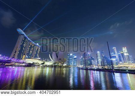 Ingapore - Mar 20 : Nightscape Of Singapore Marina Bay Sand On March 20,2015 In Singapore. Marina Ba