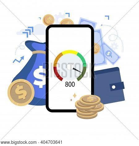 Fast Loan, Mobile Banking App, Good Credit Rating. Vector Fast Interface Credit Application, Loan Ba