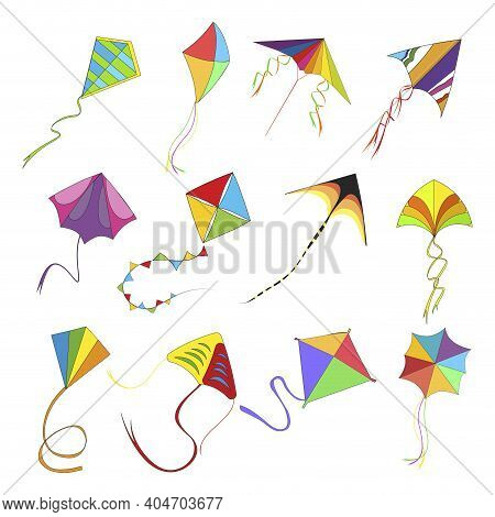 Flying Kite Set, Colored Kids Toys In High Sky, Indian Holiday Makar Sankranti, Childhood Play Fly K