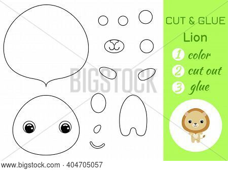 Coloring Book Cut And Glue Baby Lion. Educational Paper Game For Preschool Children. Cut And Paste W
