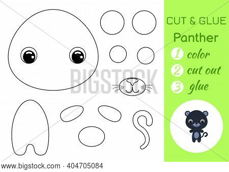 Coloring Book Cut And Glue Baby Panther. Educational Paper Game For Preschool Children. Cut And Past