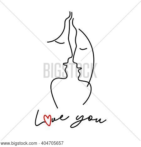Silhouettes Of Man And Woman Faces. Line Art Faces. The Invitation To The Wedding. Valentine's Day G