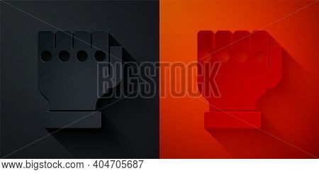 Paper Cut Mma Glove Icon Isolated On Black And Red Background. Sports Accessory Fighters. Warrior Gl