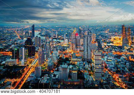 Landscape Of Bangkok City During Twilight Time
