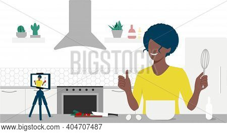 Food Blogger Streaming Live. A Beautiful Black Woman Records An Online Cooking Video Tutorial On His