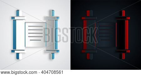 Paper Cut Decree, Paper, Parchment, Scroll Icon Icon Isolated On Grey And Black Background. Chinese