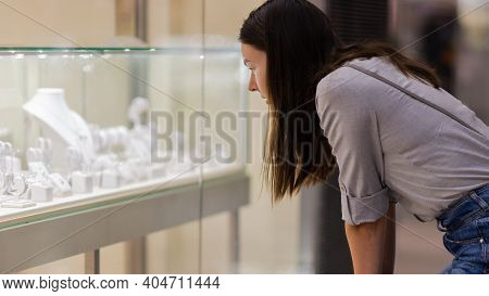 Shopper At The Jewelry Store Window, Dream Of A Gift, Jewelry And Costume Jewelry,
