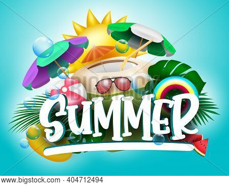 Summer Vector Banner Design. Summer Text With Tropical Season Elements Like Coconut Juice, Umbrella,