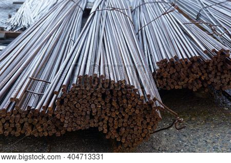 Construction Fittings. Reinforcing Wire. A Pile Of Reinforcing Wire. Reinforcing Wire Packaging.