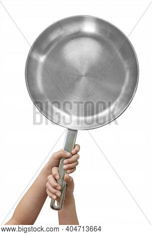 Top View Child's Hand Holding Stainless Steel Saucepan, Isolated Child's Hand Holding Stainless Stee