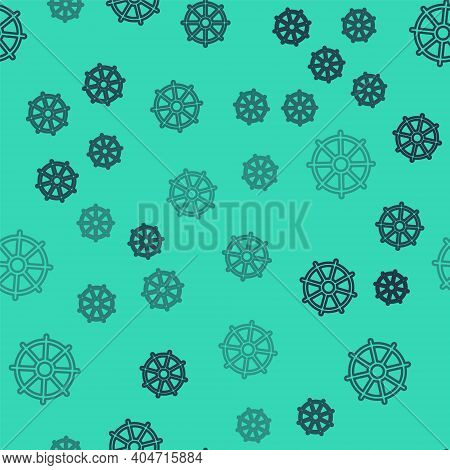 Black Line Dharma Wheel Icon Isolated Seamless Pattern On Green Background. Buddhism Religion Sign.