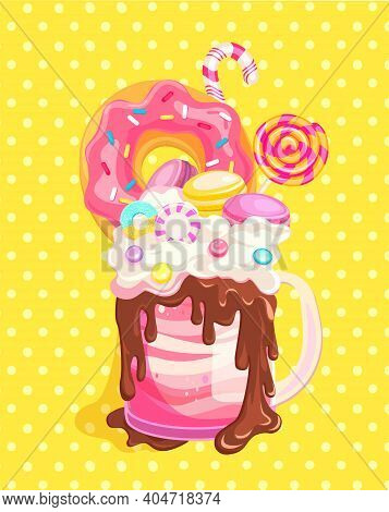 Giant Monsterhake With Donut, Chocolate, Macaroons And Candies On Vintage Background. Isolated Milks