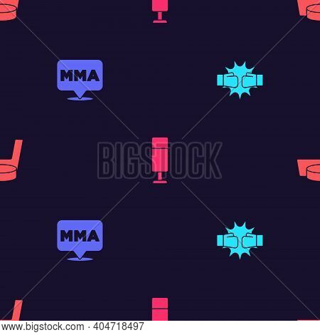 Set Punch In Boxing Gloves, Fight Club Mma, Punching Bag And Ice Hockey Stick And Puck On Seamless P
