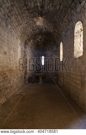 Interior Of The Medieval Castle Of Loarre, Aragonese Castle From The 11th And 12th Century, Romanesq
