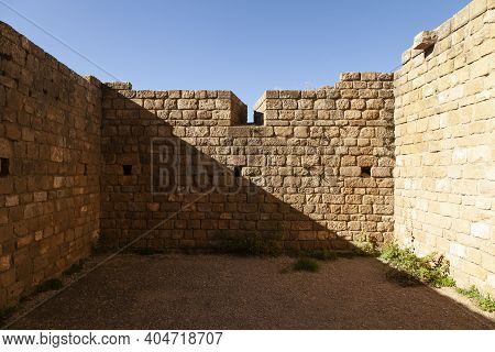 Defensive Wall Of The Medieval Castle Of Loarre, Aragonese Castle From The 11th And 12th Century, Ro