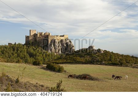 Exterior View Of The Medieval Castle Of Loarre, Aragonese Castle From The 11th And 12th Century, Rom