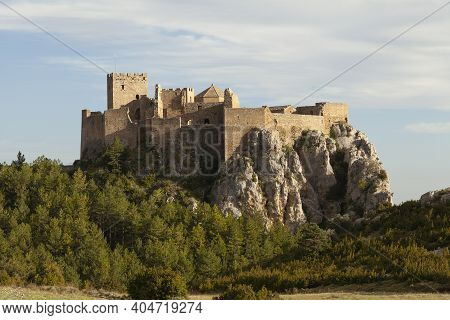 Close-up Exterior View Of The Medieval Castle Of Loarre, Aragonese Castle From The 11th And 12th Cen