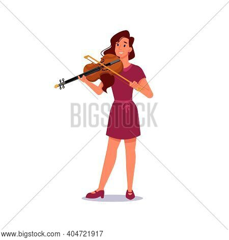 Girl Playing Violin Isolated Musician In Flat-cartoon. Violinist Plays On String Music Instrument, V