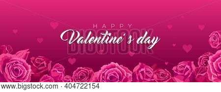 Banner With Hearts And Roses. Vector Illustration, Background For Valentine S Day, Cards With Red He