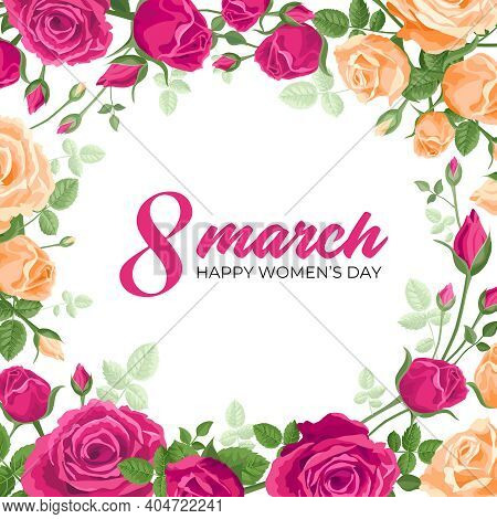 Happy Womens Day Card. Vector Square Web Banner, Poster, Flyer, Greeting For Social Media With The T