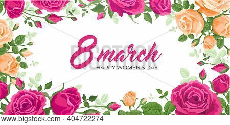 Happy Womens Day Banner. Vector Web Banner, Poster, Flyer, Greeting Card For Social Media With The T