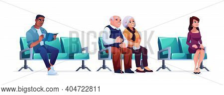 Waiting Room, People Sitting On Chairs In Queue Isolated On White. Elderly Couple, Woman And Man Hea