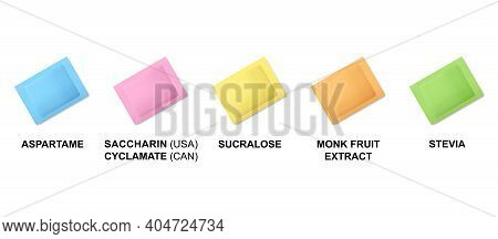 Sweetener Packets, Color Definition. Color Codes Of Sugar Substitute Pouches. Blue For Aspartame, Pi