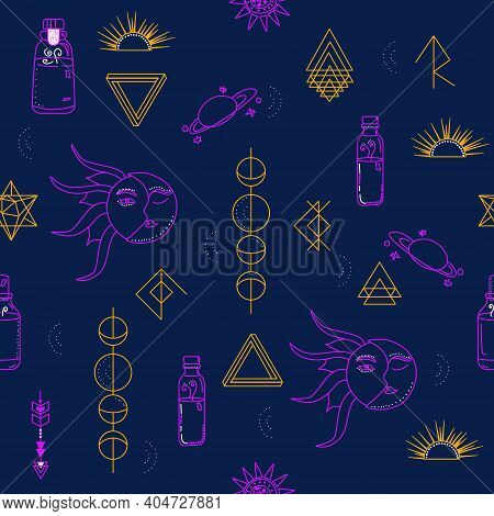 Seamless Pattern With Magic And Witchcraft Symbols.planets,moon Phases And Geometric Runes In Doodle