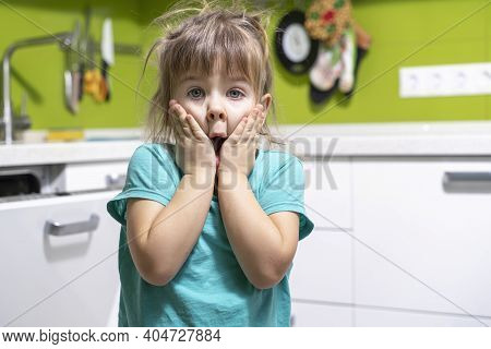 Emotional Little Girl With Shaggy Hairstyle Is In Shock. The Child Clutched His Face Fearing Mess In