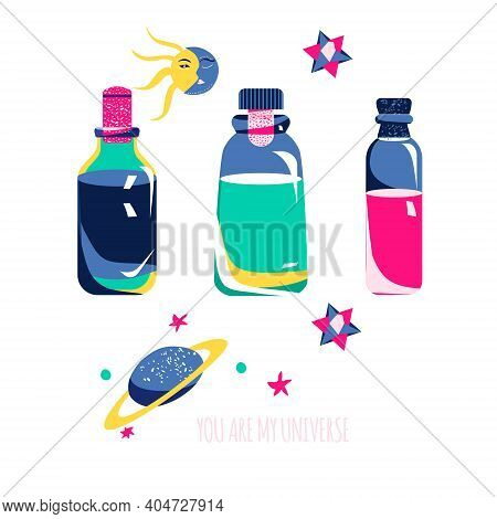 Magic Elixirs Or Love Potions Set In Three Glass Vials With Corks.spell And Witchcraft.wiccan And As