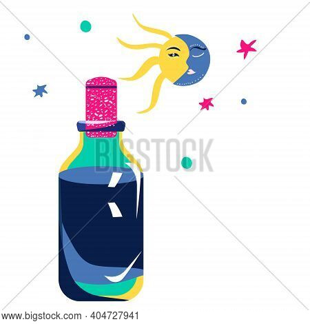 Magic Elixir Or Love Potion In Glass Vial With Cork.spell And Witchcraft.wiccan Or Astrology Symbols