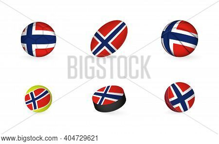 Sports Equipment With Flag Of Norway. Sports Icon Set Of Football, Rugby, Basketball, Tennis, Hockey